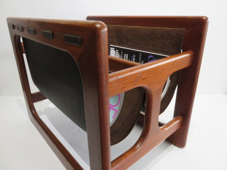 Modern Teak And Leather Magazine Rack