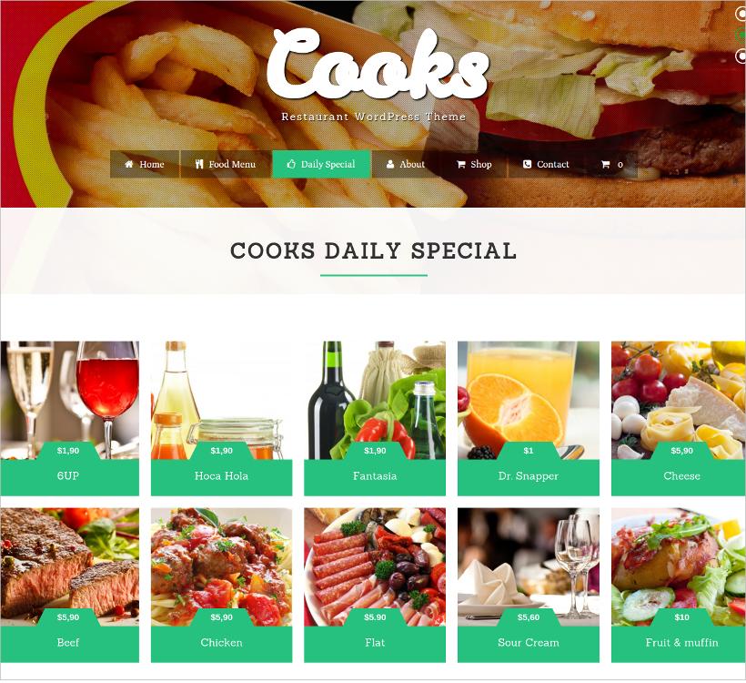 cooks restaurant wordpress theme