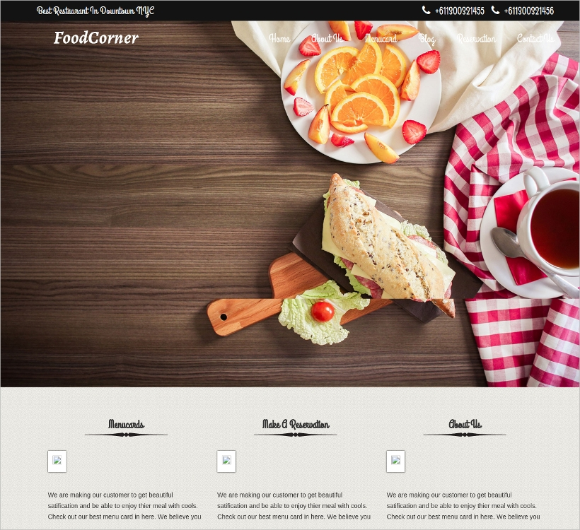 FoodCorner Restaurant Theme