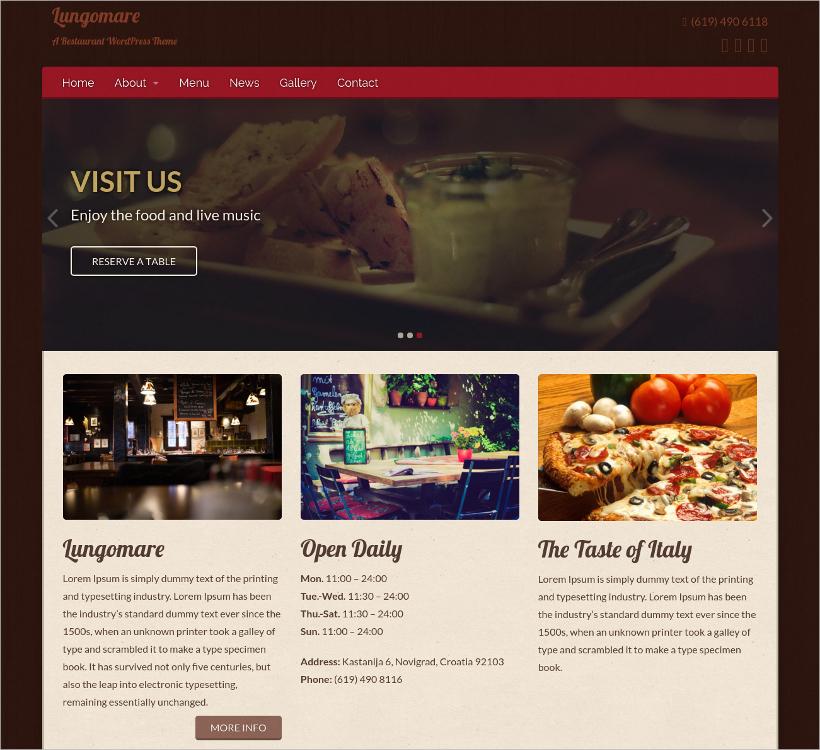 lungomare wordpress restaurant theme
