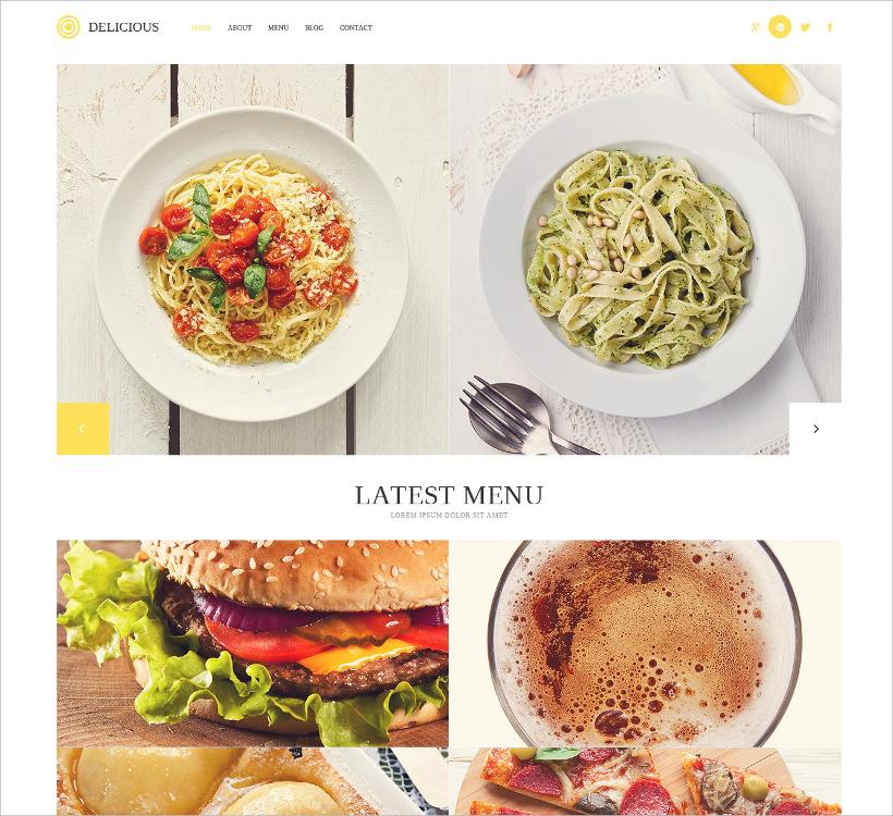 modern delicious restaurant wp theme