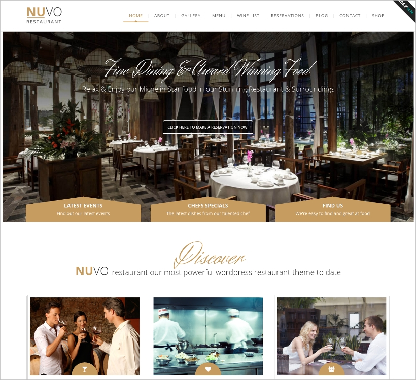 Nuvo Cafe & Restaurant WordPress Theme