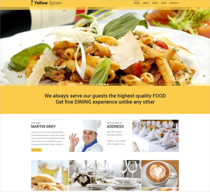Restaurant Management WordPress Theme