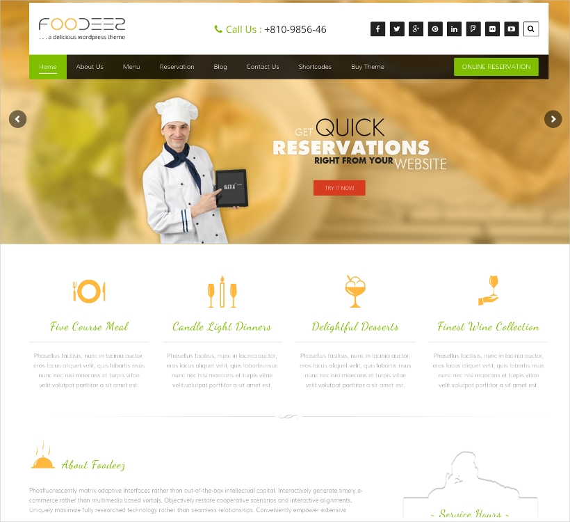 Restaurant Theme for Hotels & Food Business