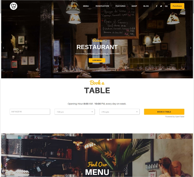 WordPress Theme for Restaurant & Coffee