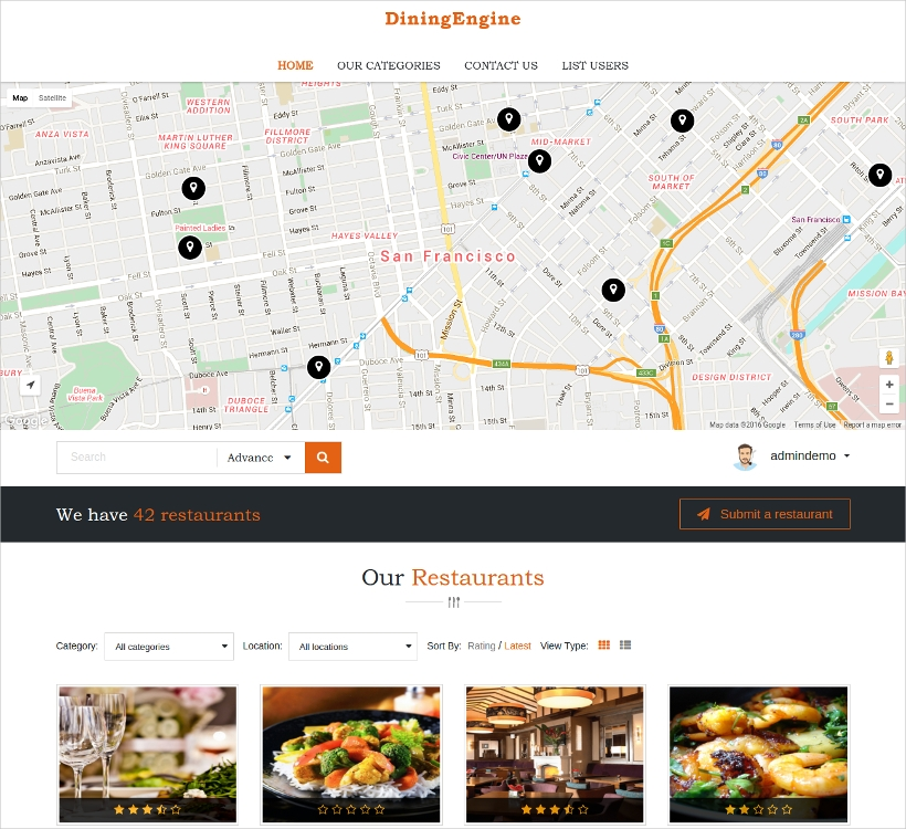 WP Restaurant Directory Theme