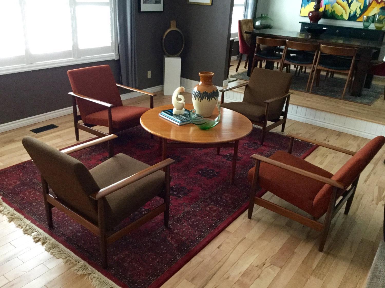 5pc teak lounge chair table conversation set