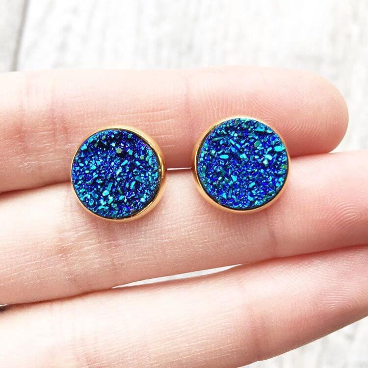 Blue Bottun Gold Earrings (1)