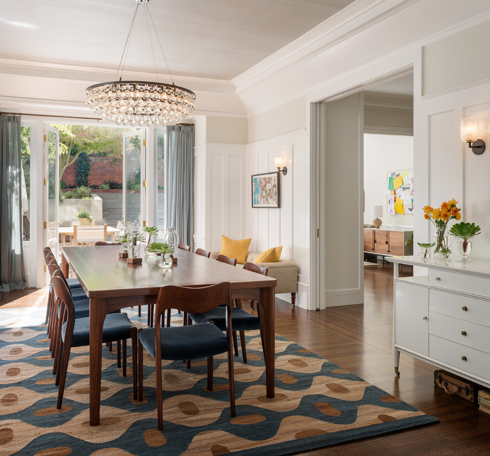 transitional dining room with beautiful dining table