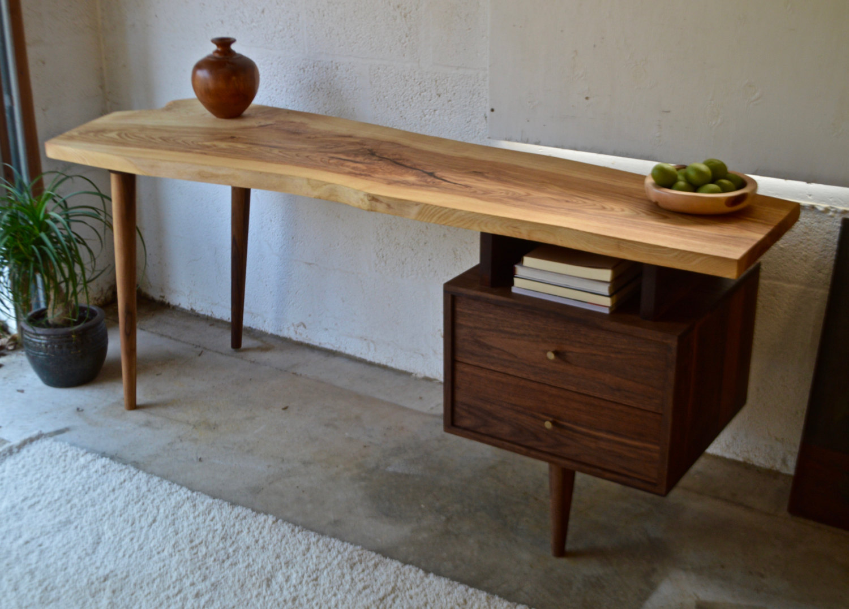 live edge wooden desk