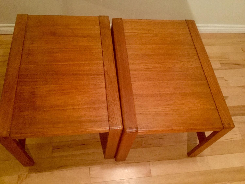 danish teak end table set