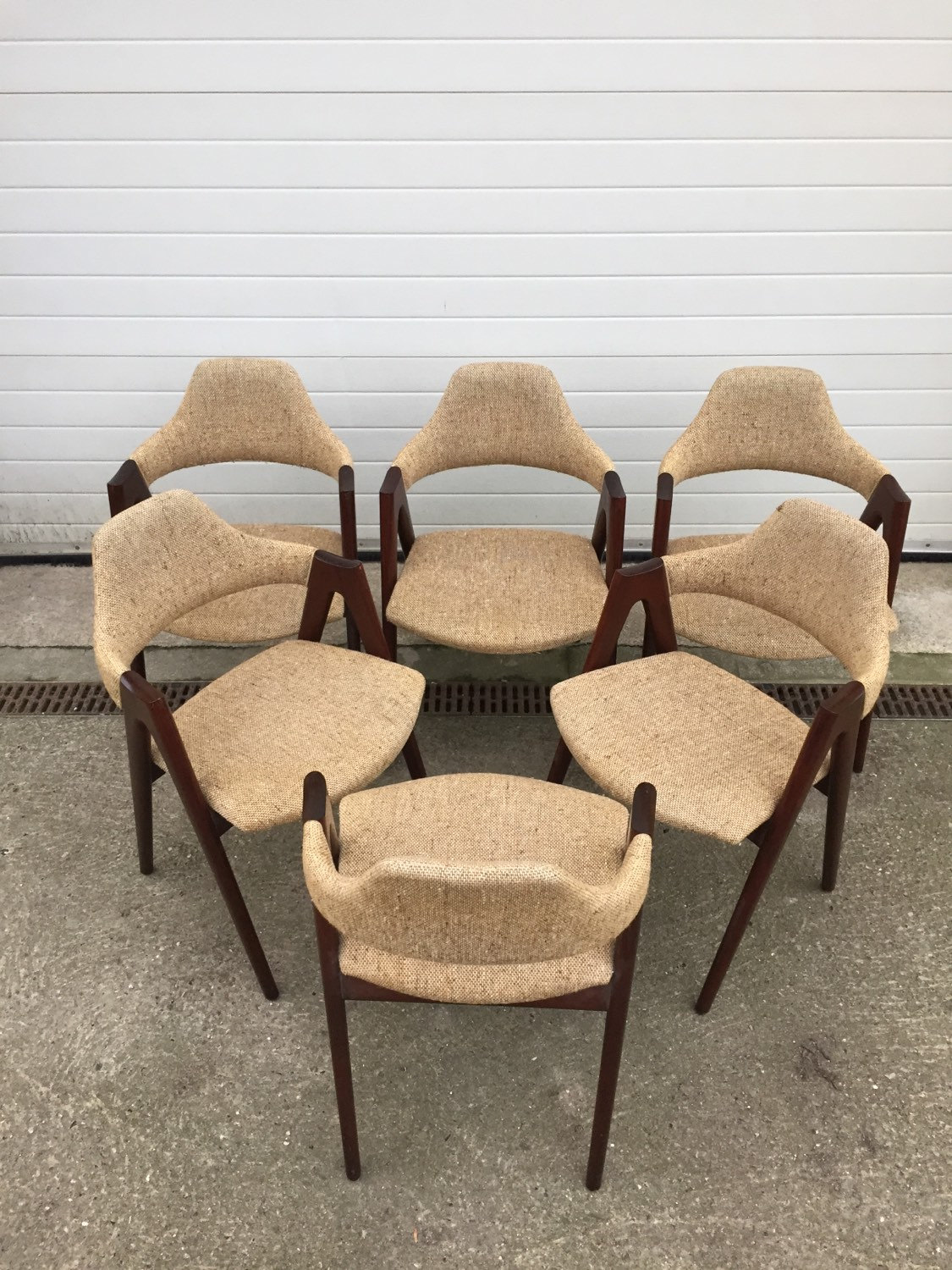 6 set compass wooden chair