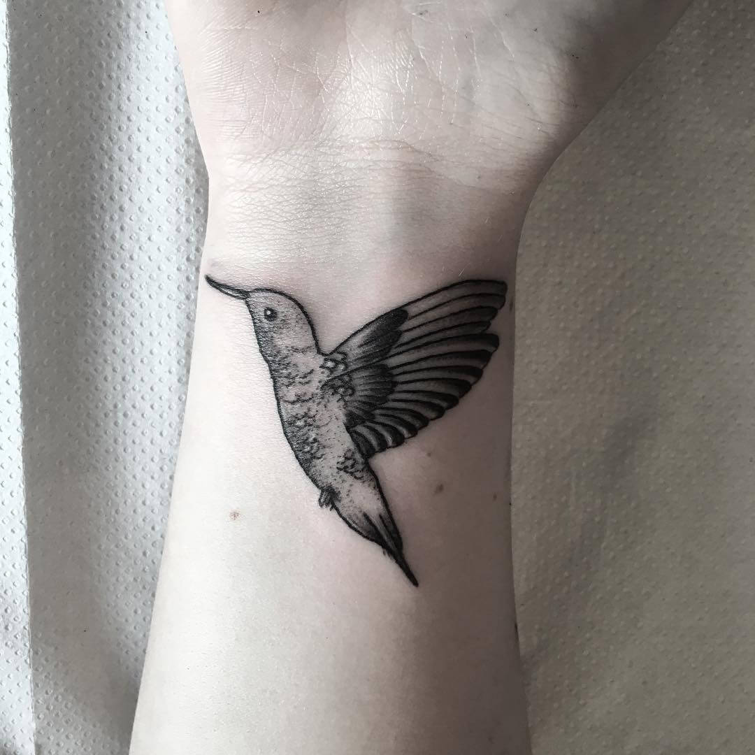 black and white hummingbird tattoo 1