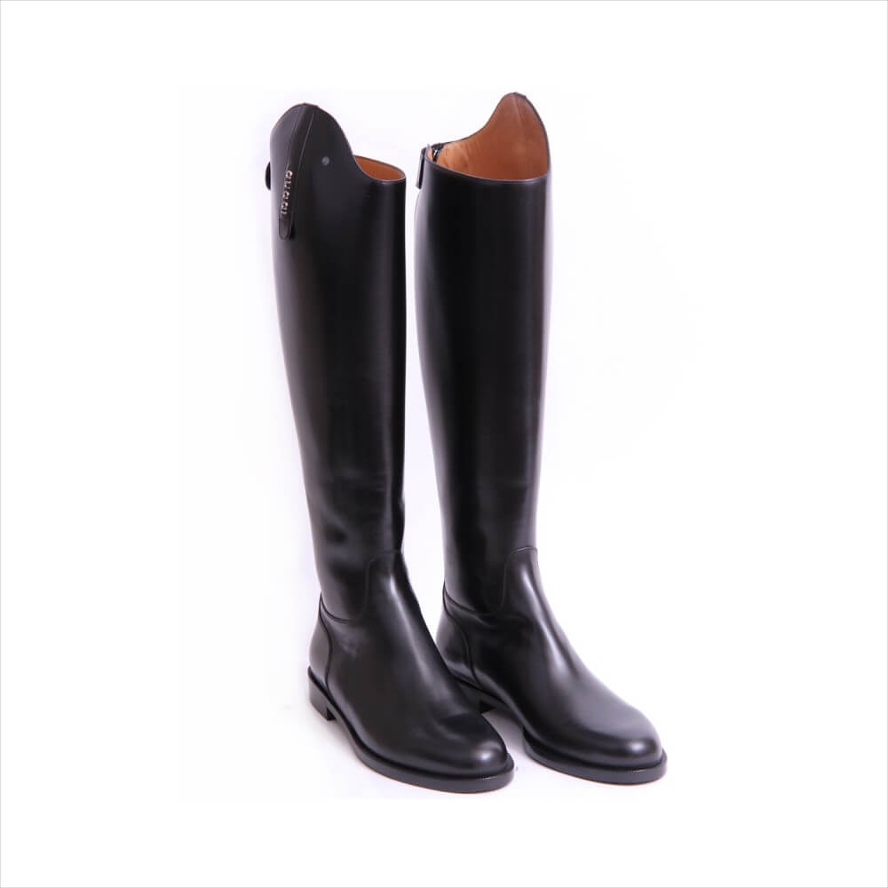 Gucci Black Leather Riding Thigh High Boots