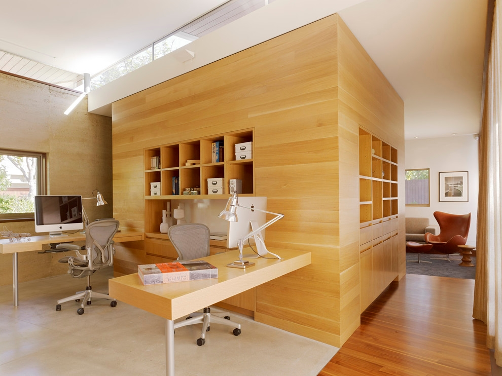 Stylish Office With Medium Tone Hardwood Floors
