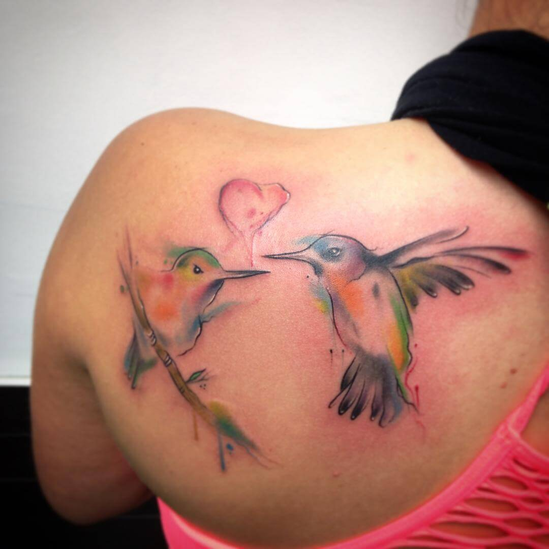 love hummingbird tattoo design 1