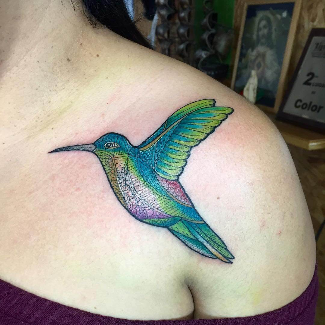 simple hummingbird tattoo 1