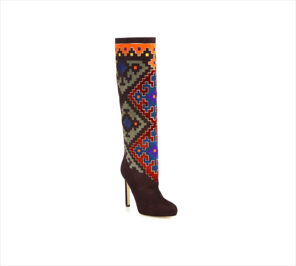 Brian Atwood Velvet Patterned Thigh Boots