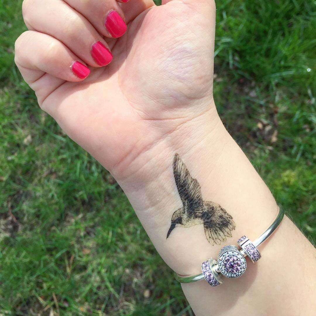 Palm Hummingbird Tattoo Design (1)