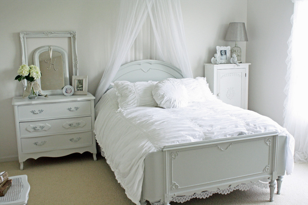 Shabby chic style white French bedroom