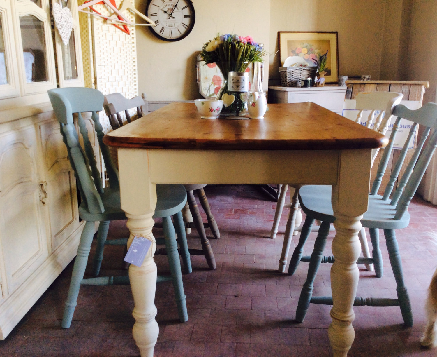 Gorgeous solid vintage French cottage style dining table