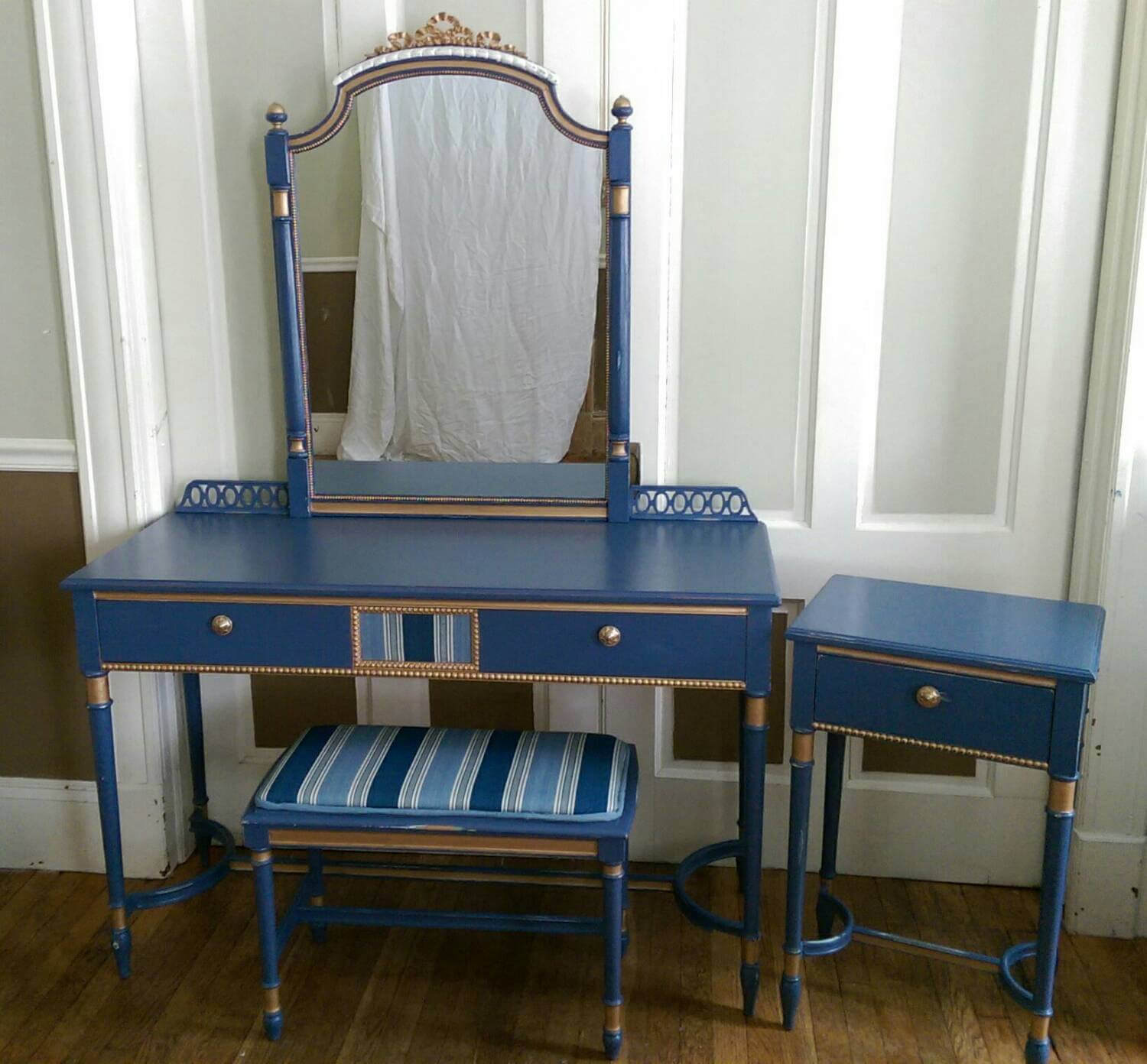 Vintage Painted Vanity Table Chair