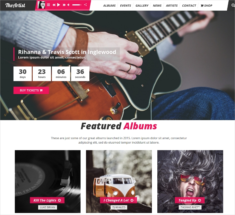 artist band music wordpress theme