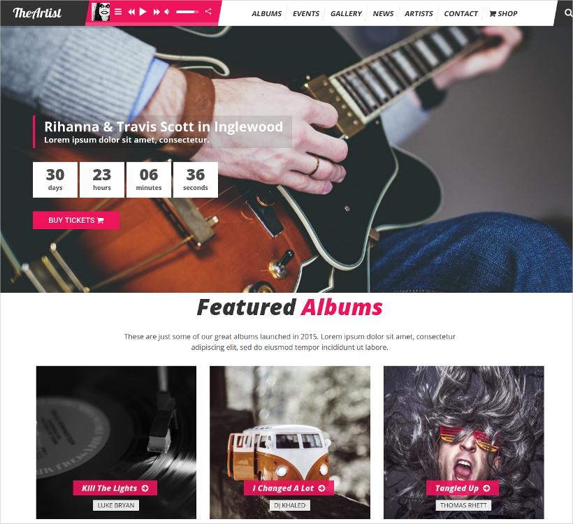 Artist Band Music WordPress Theme