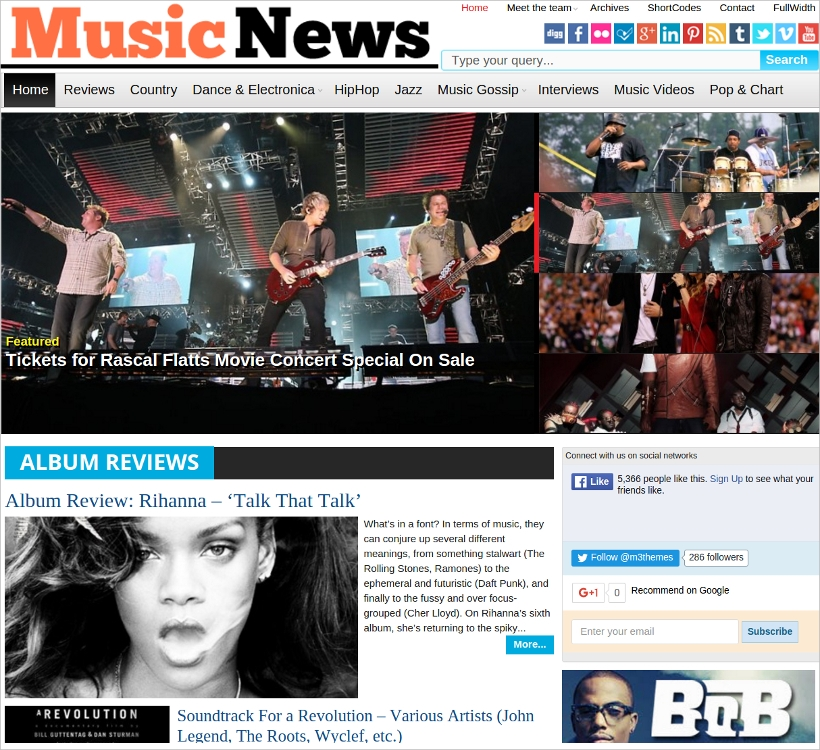 music magazine wp theme