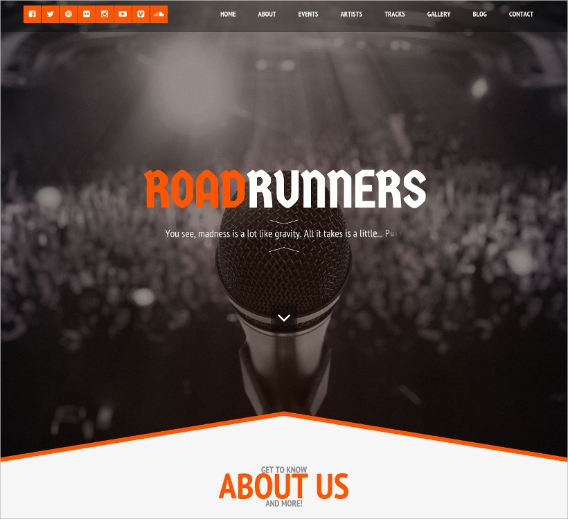 one page music wordpress theme