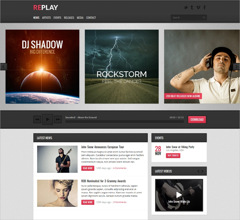 replay responsive music wordpress theme