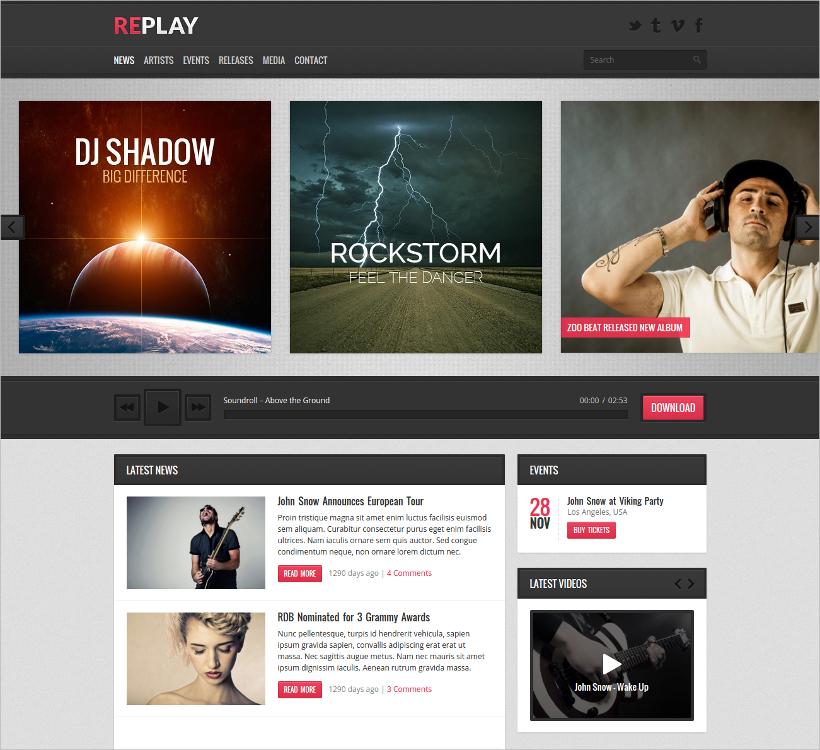 Replay Responsive Music WordPress Theme