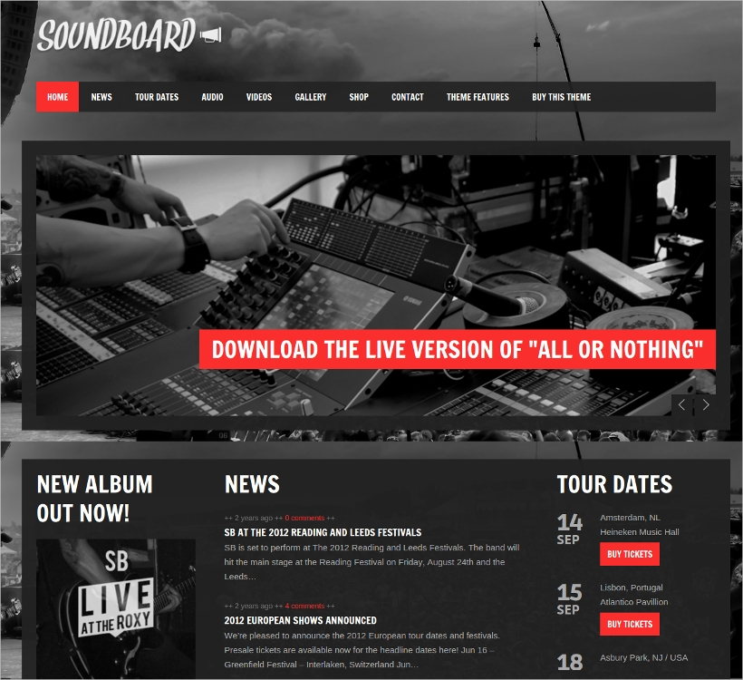 soundboard responsive wordpress music theme
