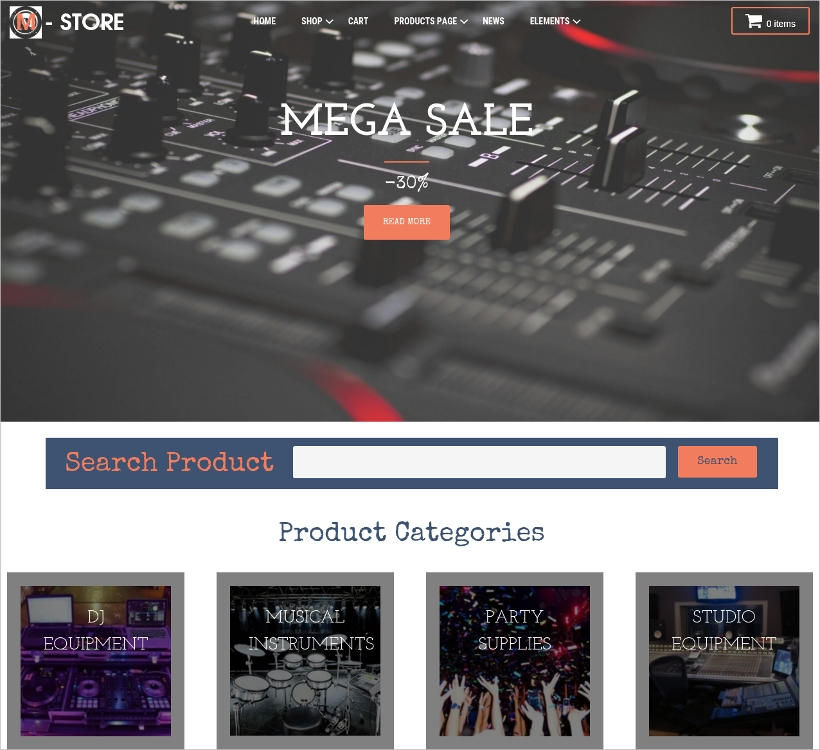 wp theme for music store