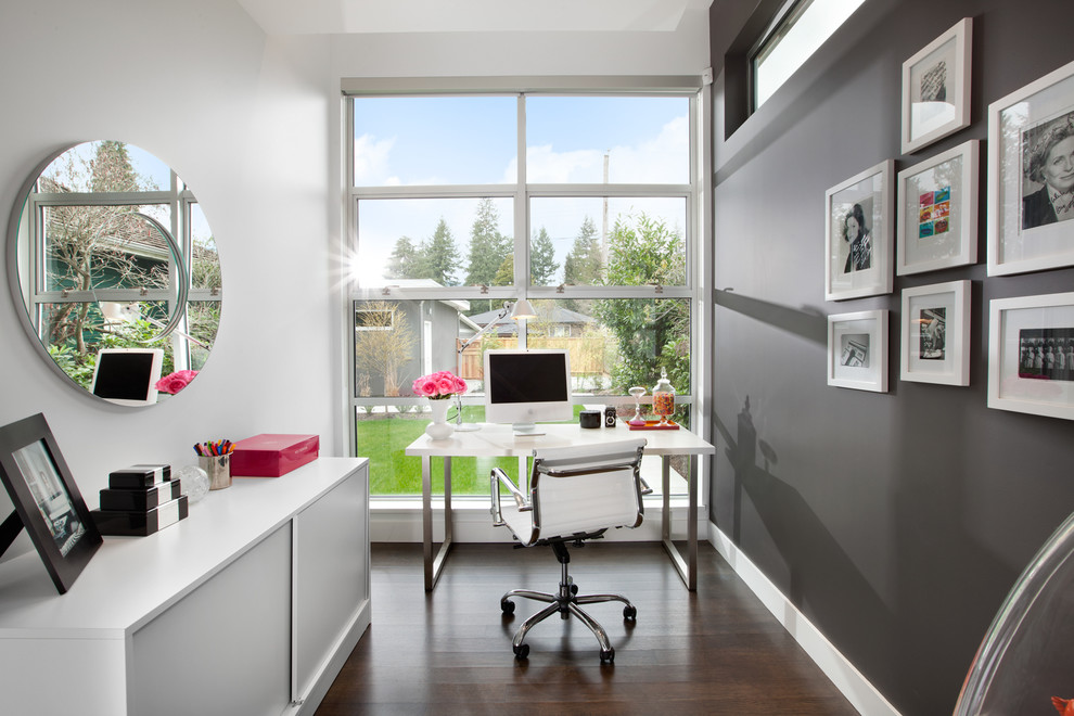 Home Office In Vancouver With Grey Walls