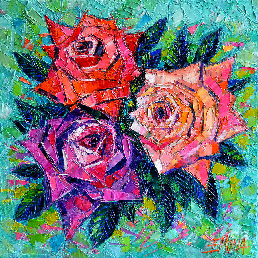 Abstract Painting of Roses