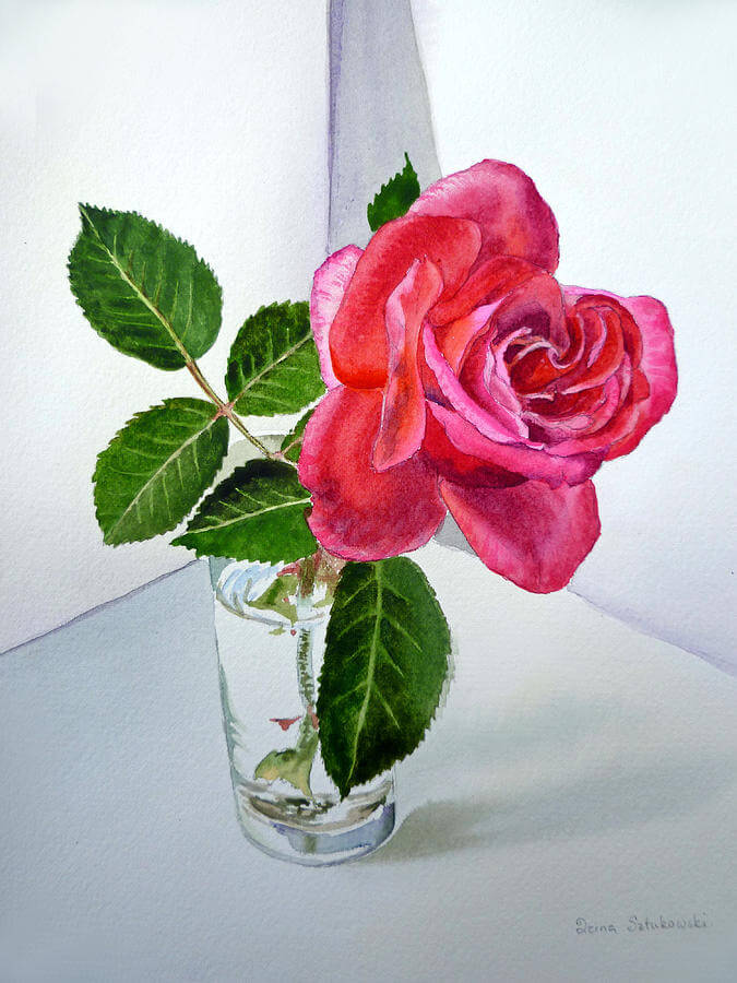 Pink Rose Attractive Painting