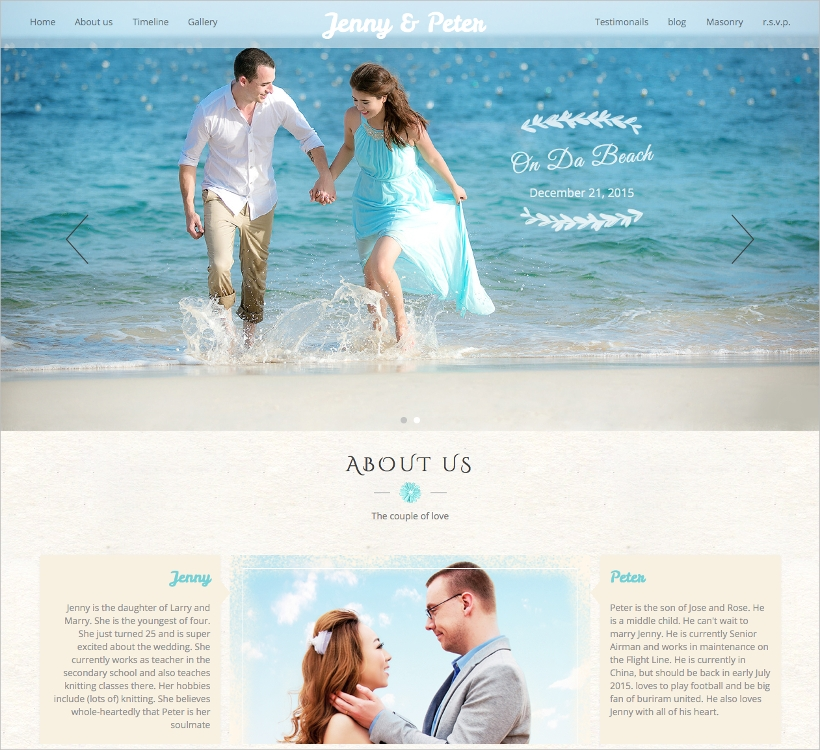 beach wedding wp theme