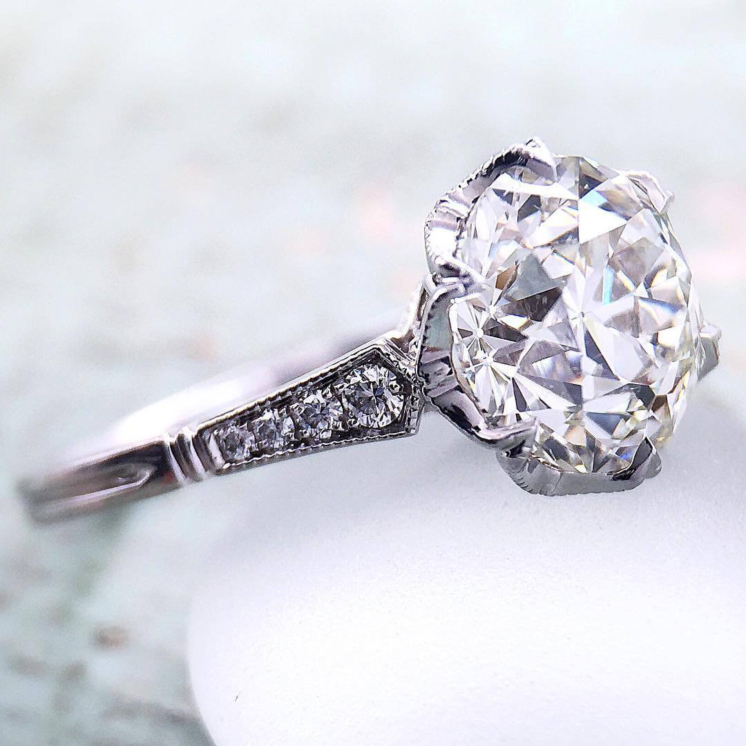 diamond bands engagement round pear vintage toronto style ring