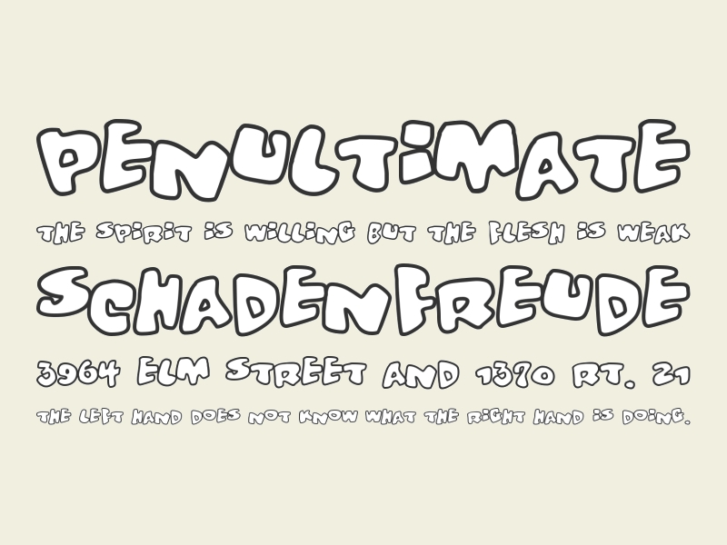 brushed outline font