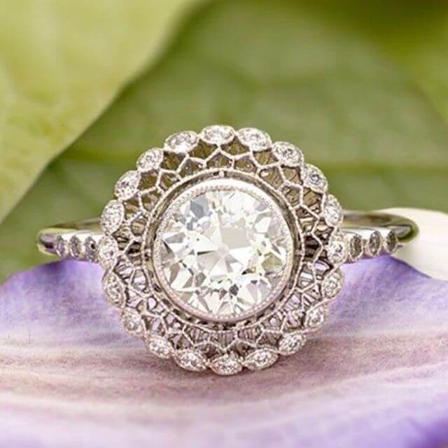 Vintage Style Round Engagement Ring