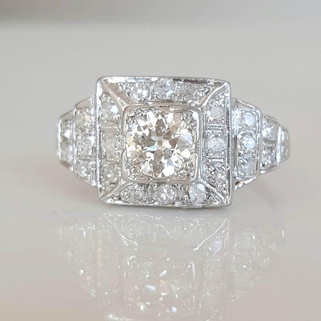 European Cut Vintage Diamond Ring