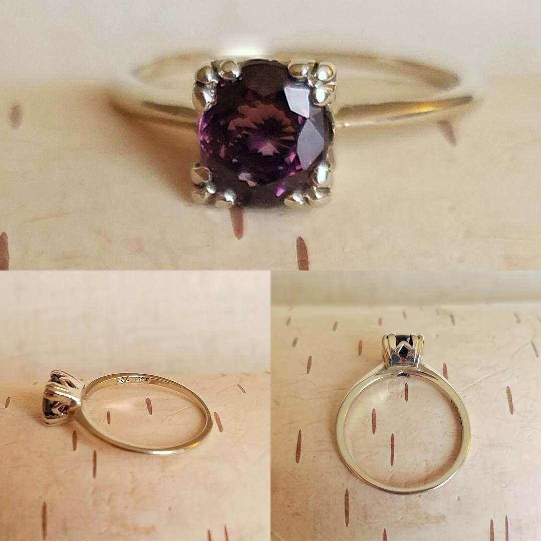 Purple Color Vintage Diamond Ring