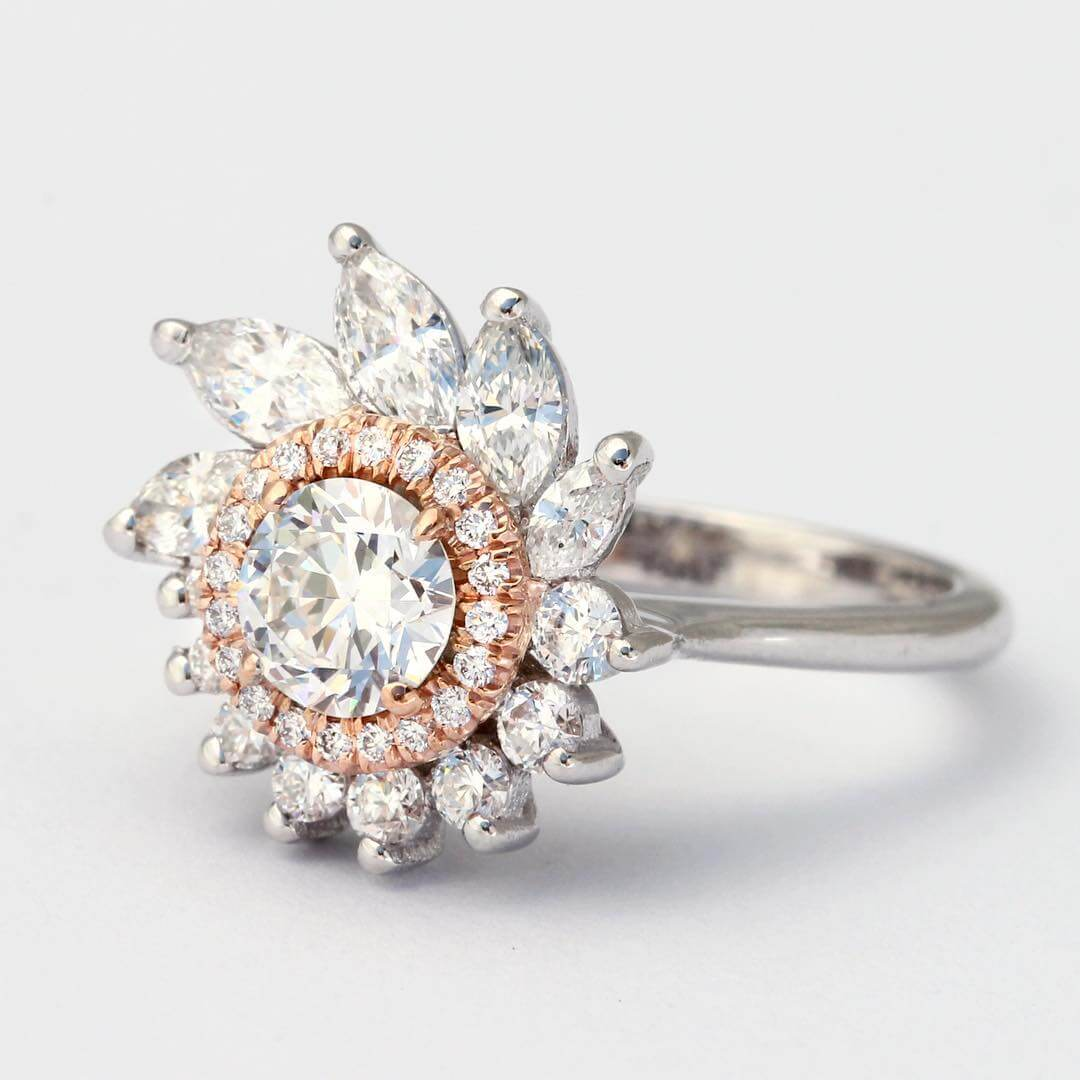 Flower Shape Vintage Engagement Ring