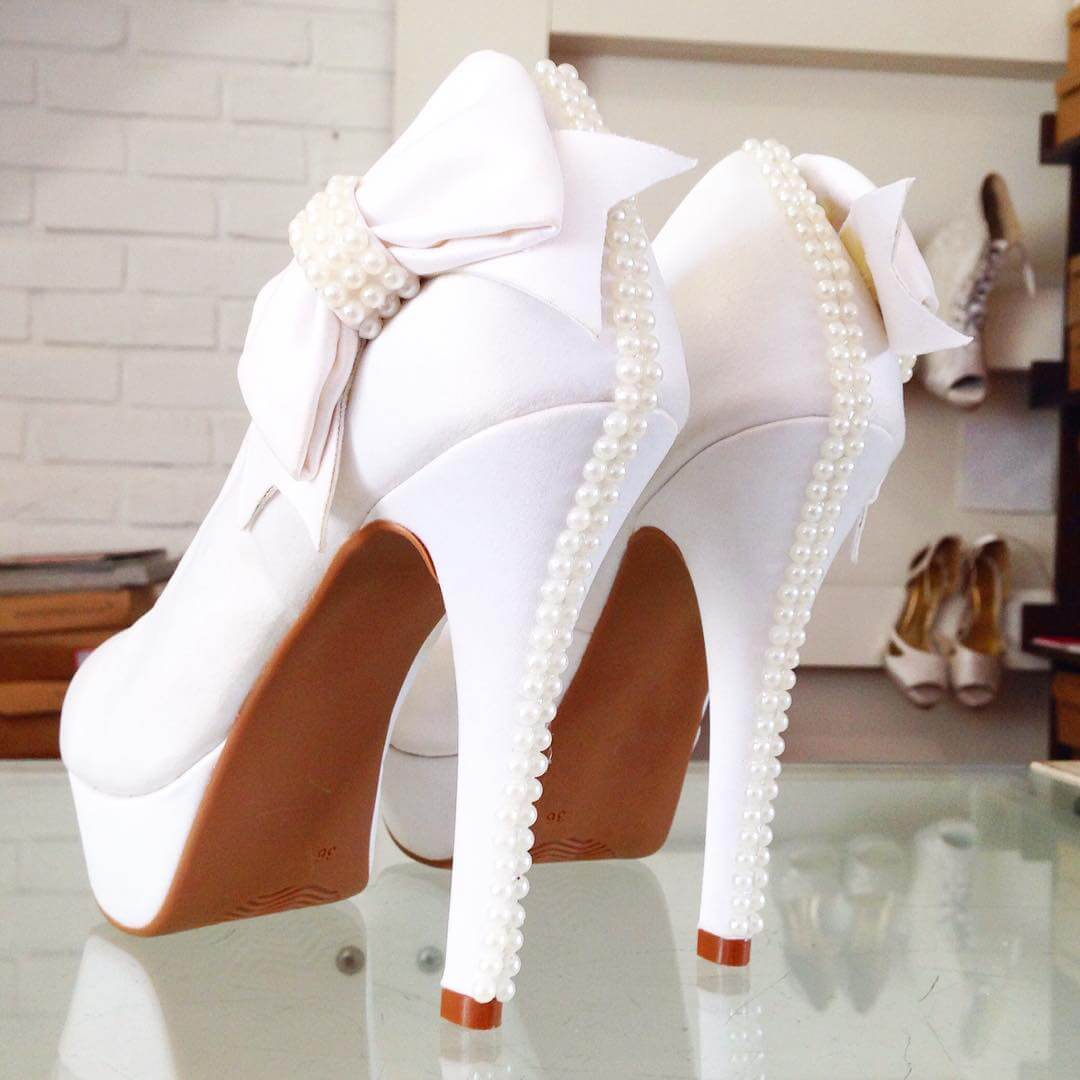 white color pearl work wedding shoes