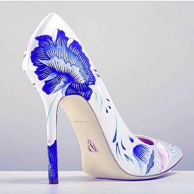 stylish white color bridal shoes