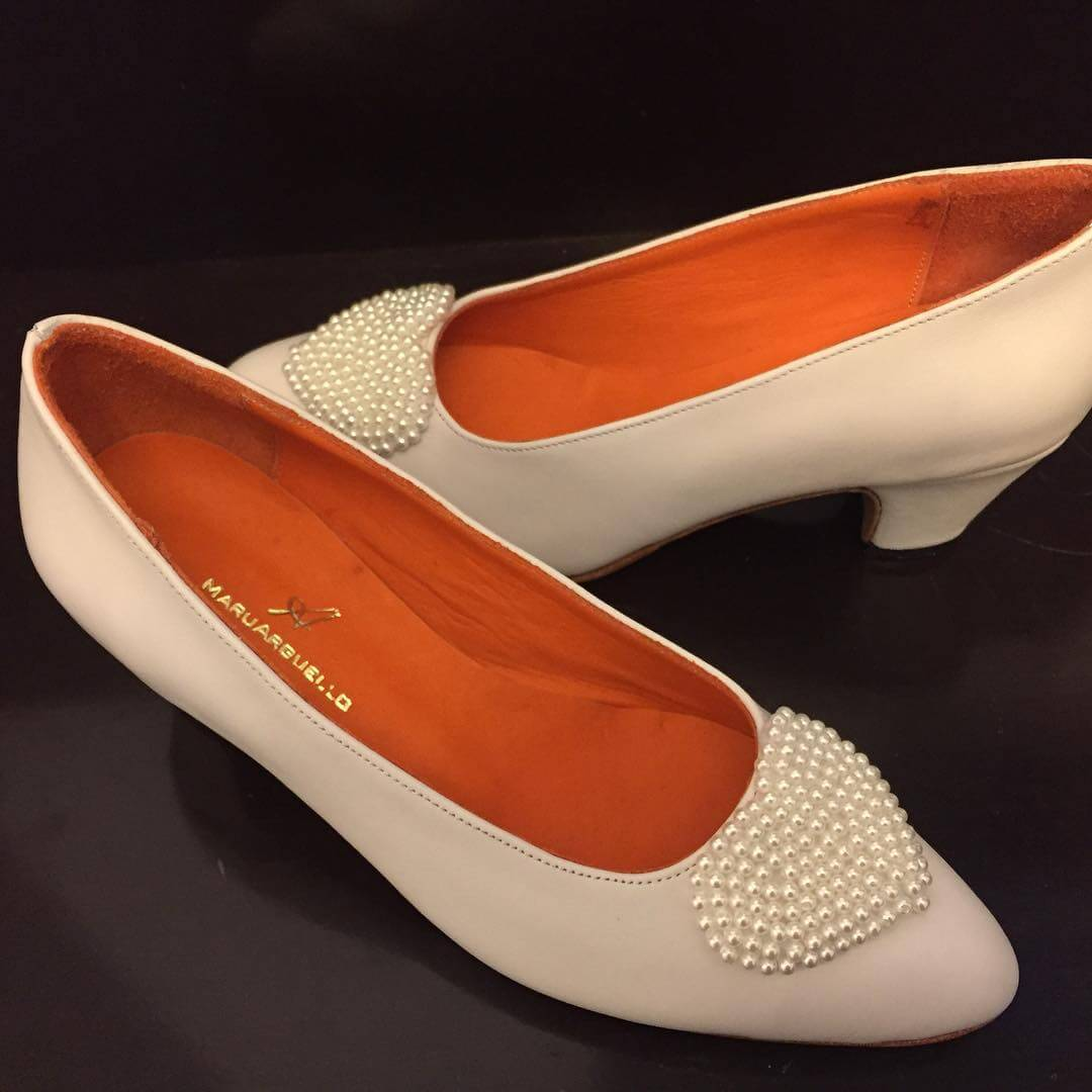low heel wedding shoes with pearl work