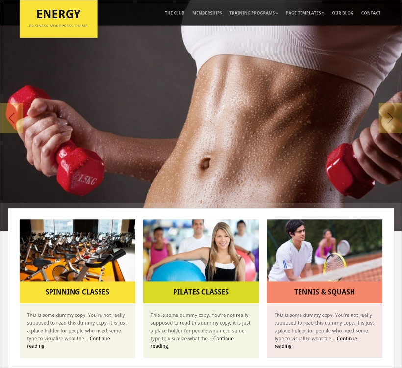 Energy Responsive WP Fitness Theme