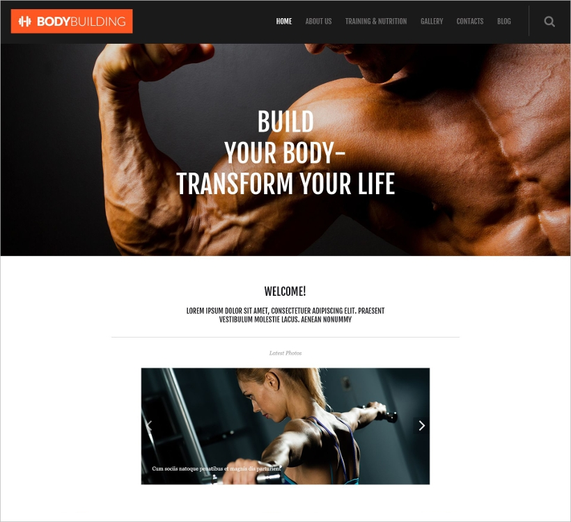 fitness responsive template