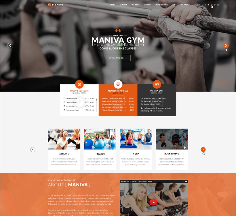 Maniva WordPress Fitness Theme